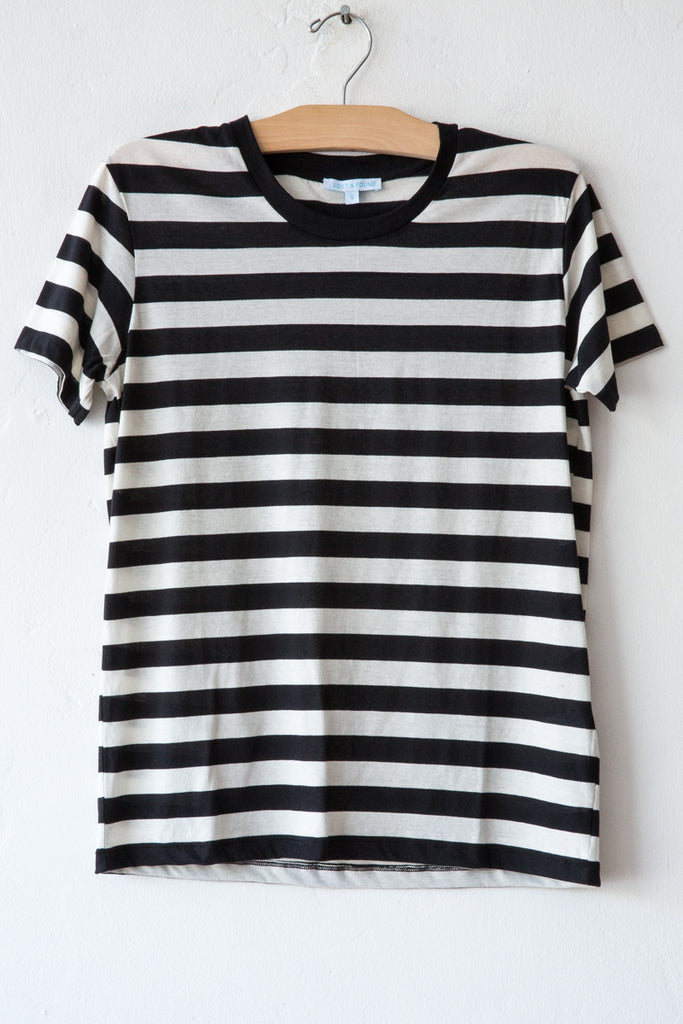 lost & found natural/black stripe basic short sleeve tee