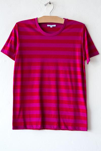 lost & found fuschia/red stripe small tee