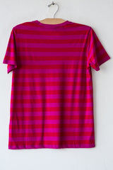 lost & found fuschia/red stripe basic short sleeve tee