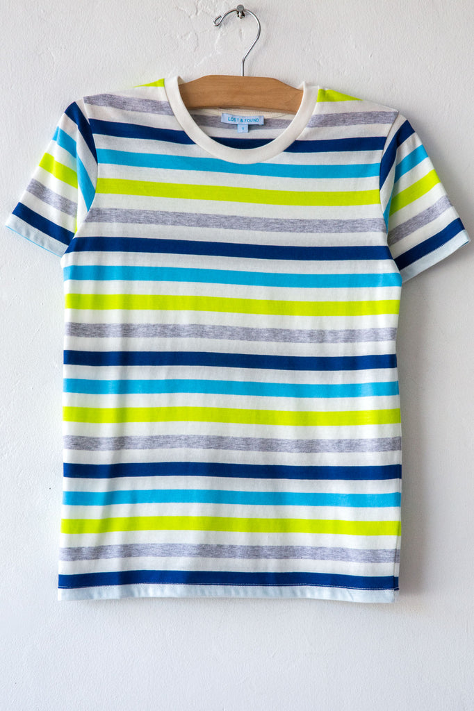 lost & found turq stripe small tee