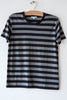 lost & found heather grey/ black stripe basic short sleeve tee