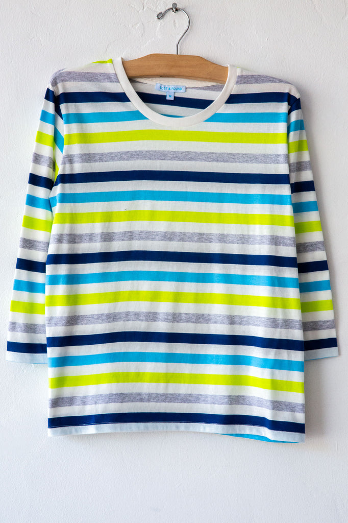 lost & found turq stripe 3/4 sleeve tee
