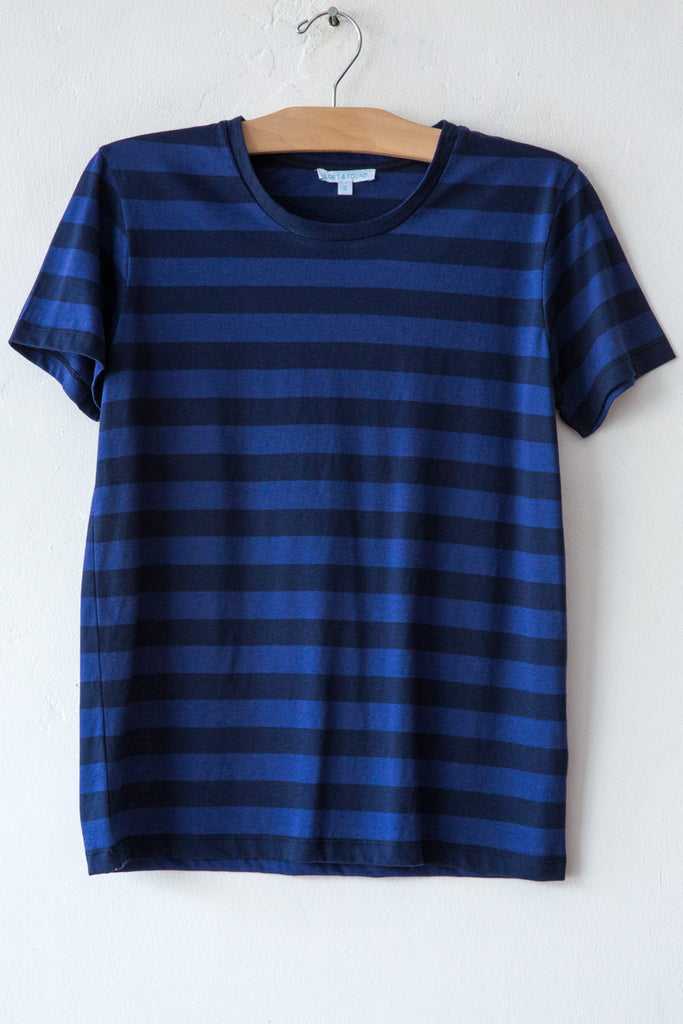 lost & found indigo/navy stripe basic short sleeve tee