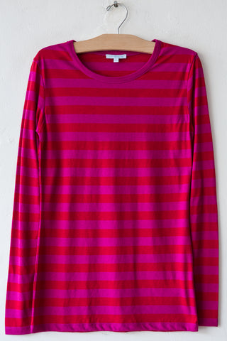 lost & found fuschia/red stripe rib neck long sleeve tee