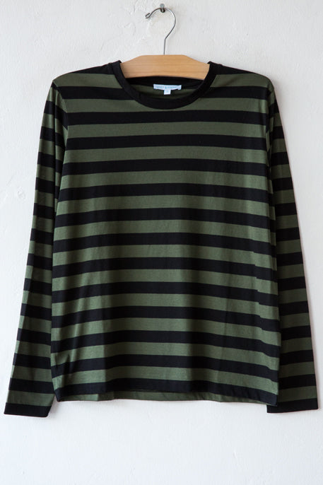 lost & found olive/black stripe long sleeve tee