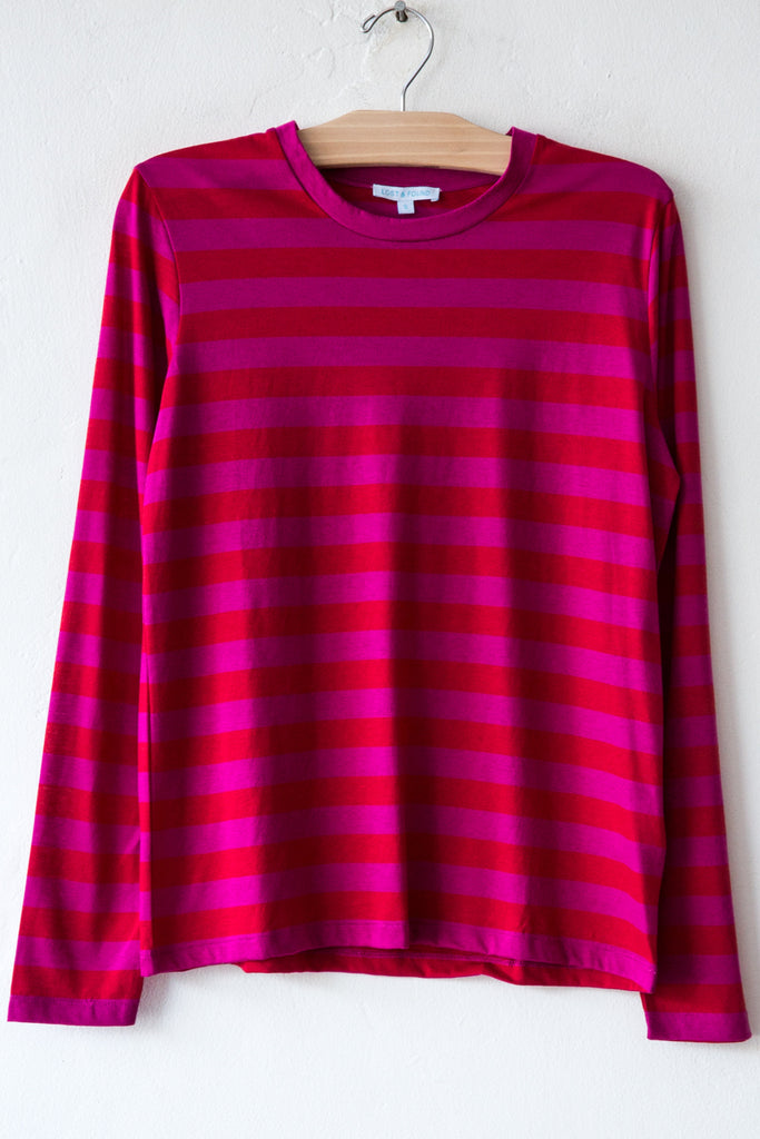 lost & found fuschia/red stripe long sleeve tee