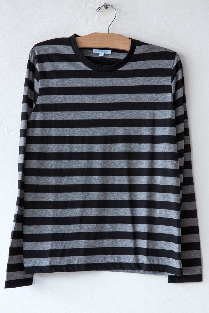 lost & found heather grey/black stripe long sleeve tee