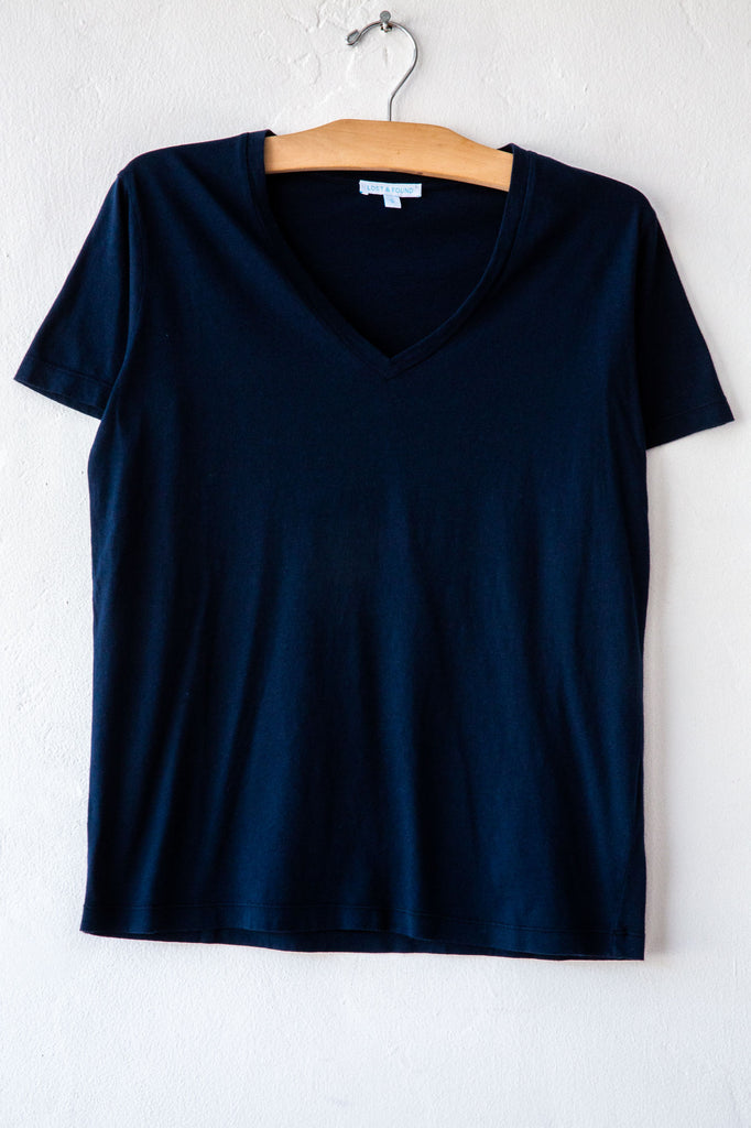 lost & found navy vneck short sleeve tee