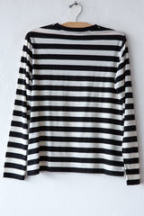 lost & found natural/black stripe long sleeve tee