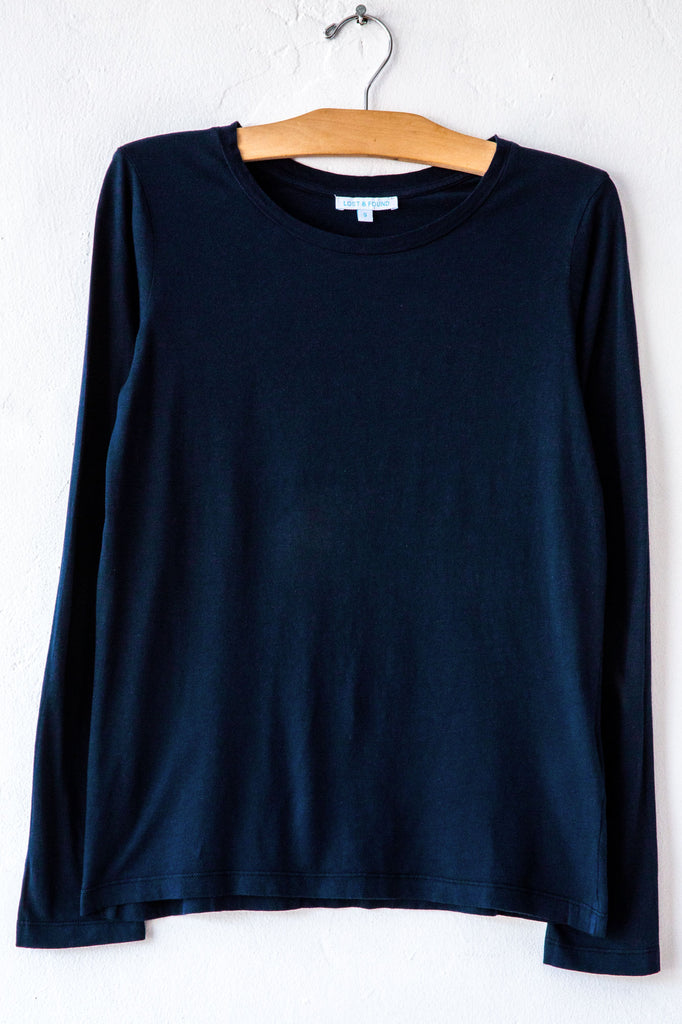 lost & found navy slim long sleeve tee