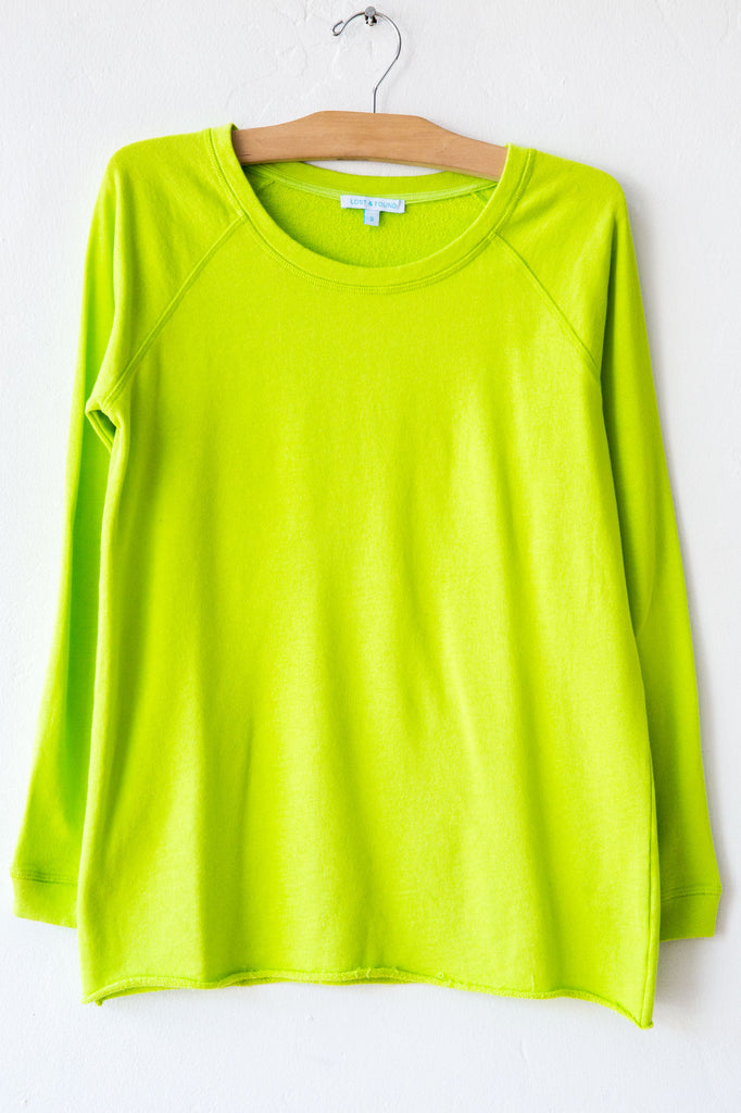 lost & found lime raw hem raglan sweatshirt