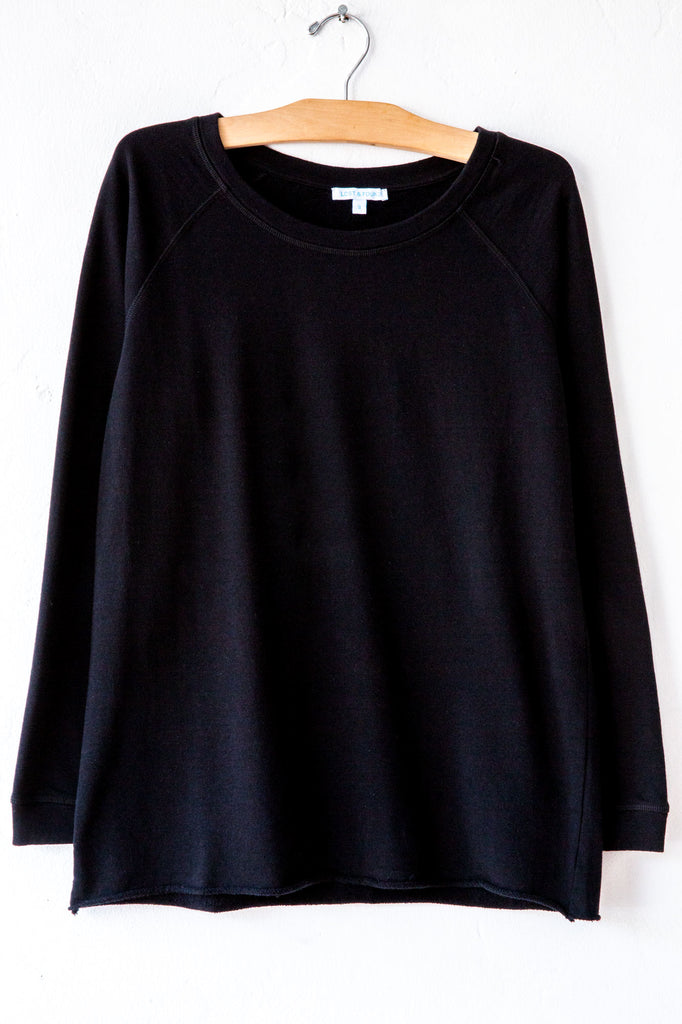 lost & found black raw hem raglan sweatshirt