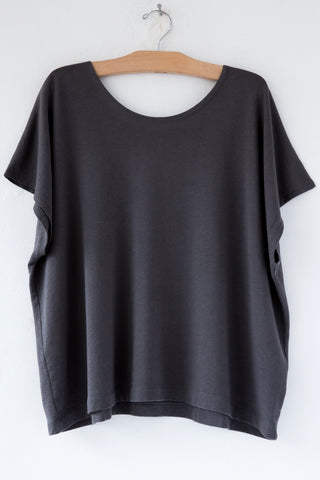 lost & found charcoal french terry poncho