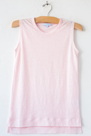 lost & found lt pink linen sleeveless tee