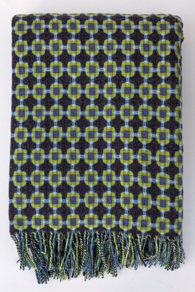 Paulette Rollo indigo/green basket weave throw