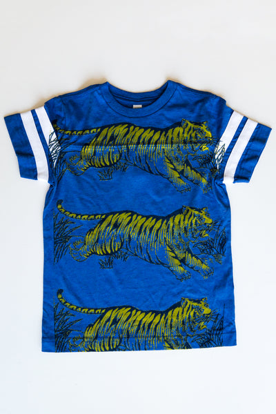 lucky fish royal leap tiger football tee