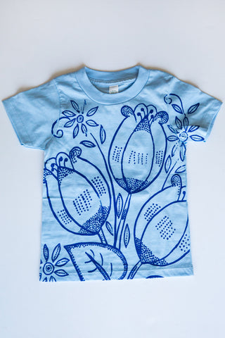 lucky fish lt blue tulips tee