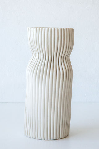 Cym white tall curvy vase