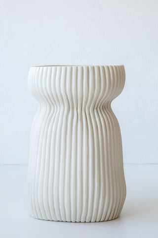 Cym white wide curvy vase