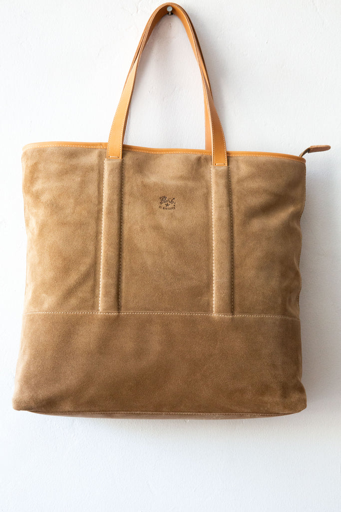 il bisonte tan suede tote bag