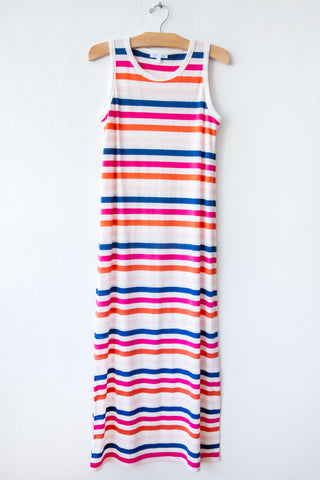 lost & found peony stripe long tank dress