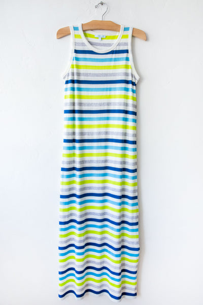 lost & found turq stripe long tank dress