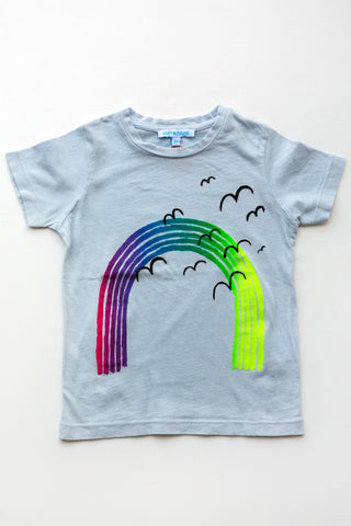 lucky fish on lost & found tee lt blue over the rainbow