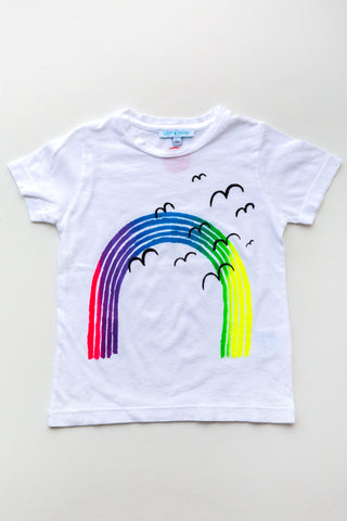 lucky fish on lost & found tee white over the rainbow