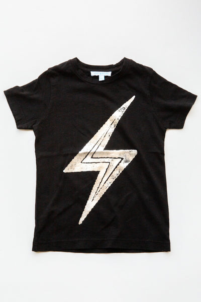 lucky fish on lost & found tee black thunderbolt