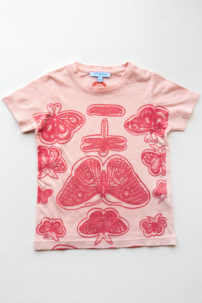 lucky fish on lost & found tee lt pink butterflies