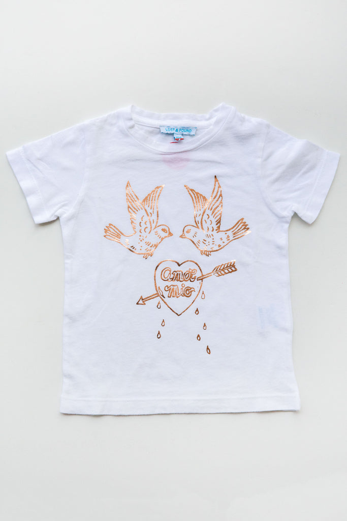 lucky fish on lost & found tee white amor mio tee