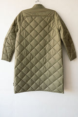 Closed Green Umber Posy Ultra Light Bomber Coat