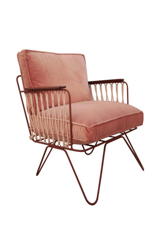 Honore Rose/Bronze Velvet Armchair
