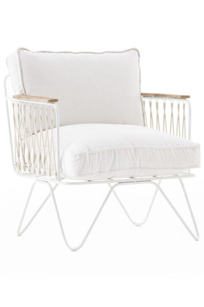Honore White Cotton Armchair