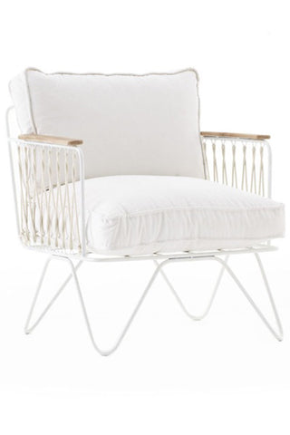 Honore White Velvet Armchair