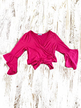 Load image into Gallery viewer, Cle' Ve women's red wrap blouse size L