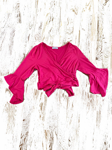 Cle' Ve women's red wrap blouse size L