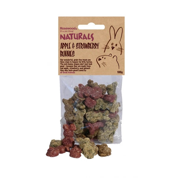 Rosewood Naturals Apple & Strawberry Bunnies 100g