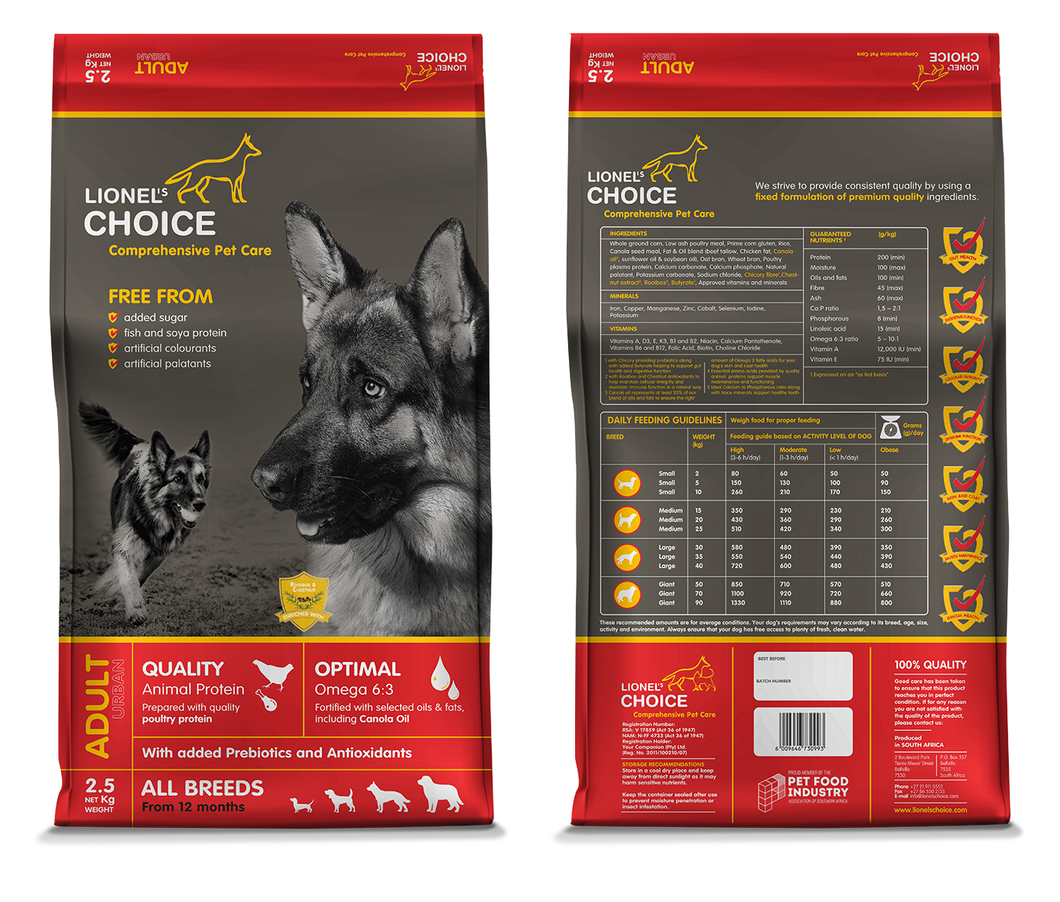 Lionel's Choice Adult 2.5kg, 8kg & 20kg