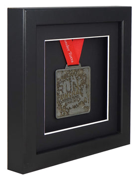 30 x 30 cm Single Medal Display Frame - Black Frame, Black Mount Card & Black Backing Card