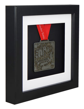 30 x 30 cm Single Medal Display Frame - Black Frame, White Mount Card & Black Backing Card