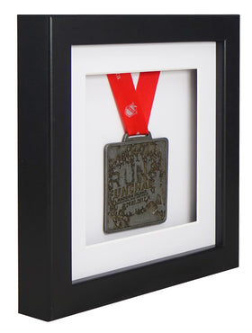 30 x 30 cm Single Medal Display Frame - Black Frame, White Mount Card & White Backing Card