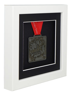30 x 30 cm Single Medal Display Frame - White Frame, Black Mount Card & Black Backing Card