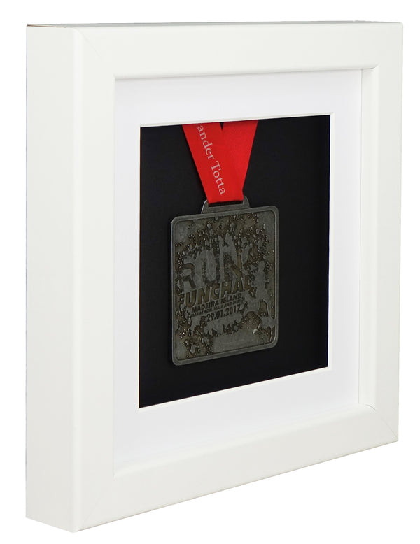 30 x 30 cm Single Medal Display Frame - White Frame, White Mount Card & Black Backing Card