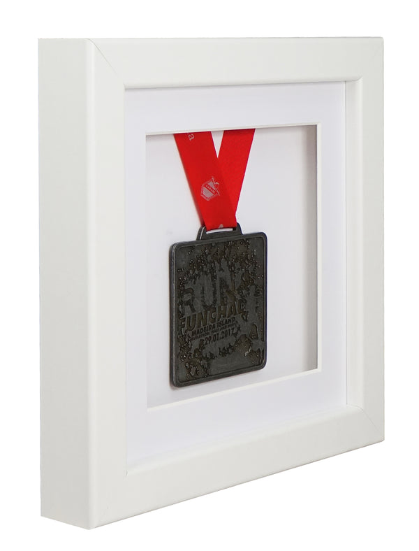 30 x 30 cm Single Medal Display Frame - White Frame, White Mount Card & White Backing Card
