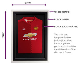Vivarti DIY Junior 3D Mounted Sports Shirt Display Frame 50 x 70cm - White Frame, Black Mount, Black Backing Card