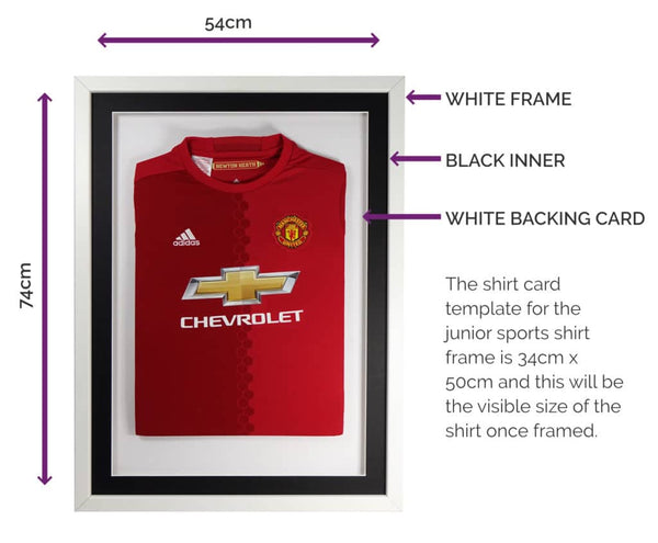 Vivarti DIY Junior 3D Mounted Sports Shirt Display Frame 50 x 70cm - White Frame, Black Mount, White Backing Card