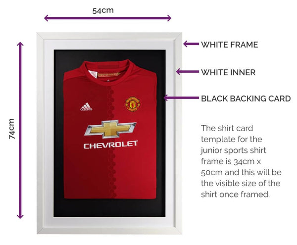 Vivarti DIY Junior 3D Mounted Sports Shirt Display Frame 50 x 70cm - White Frame, White Mount, Black Backing Card