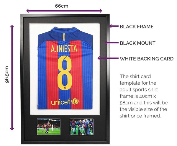 Vivarti DIY Adult 3D Mounted + Double Aperture Sports Shirt Display Frame - Black Frame, Black Mount, White Backing Card