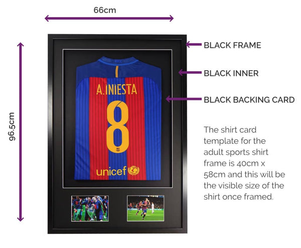 Vivarti DIY Adult 3D Mounted + Double Aperture Sports Shirt Display Frame 61 x 91.5cm - Black Frame, Black Mount, Black Backing Card